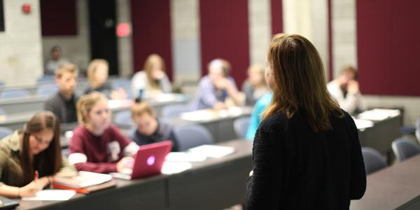 A professor lecturing to a class, as seen from behind